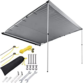 ZeHuoGe 7.6'x8.2' Grey Car Side Awning Rooftop Pull Out Tent Shelter Adjustable Height Telescoping Poles with Twist-Lock Design PU2000mm UV50+ Shade SUV Outdoor Camping Travel US Delivery
