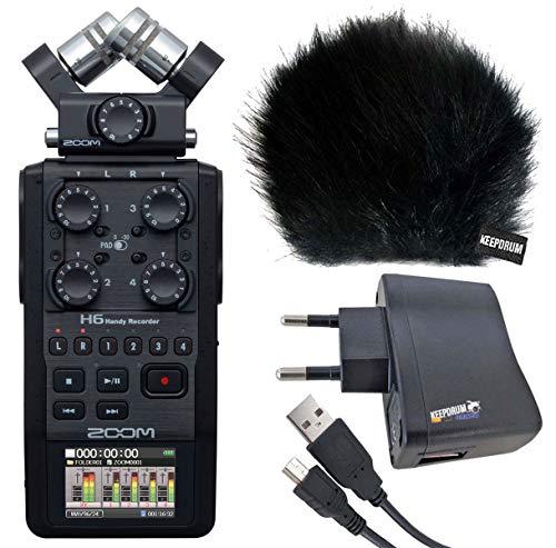 Zoom H6 Black Handy Recorder + keepdrum Windschutz WSBK + Netzteil BS510 + 1,5m Mini-USB/USB Kabel USB03
