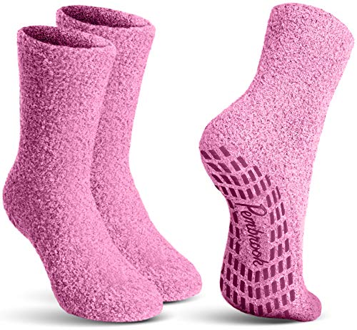 Pembrook Non Skid / Slip Socks – ( 2-Pairs – Pink) – Hospital - Fuzzy Slipper Socks – Great for adults, men, women. Designed for medical hospital patients but great for everyone
