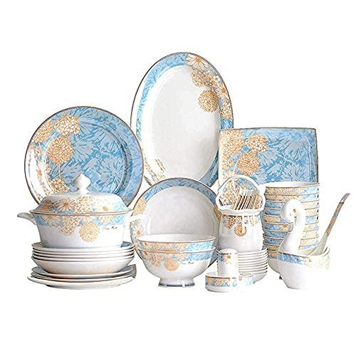 CCAN De vajilla de cerámica, Juego de vajilla de Porcelana de Lujo, Juegos de Cena de cerámica de Palacio Chino Hechos a Mano de 60 Piezas |Platos/Tazones - Juego de combinación de vajilla para la