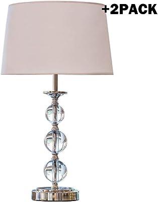 NYKK Lampada da Comodino 2 Pezzi di Cristallo Semplice Lampada da Tavolo impilati Sfera di Cristallo 22 Pollici Lampada da Comodino