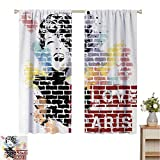 Paris Room Darkened - Cortina de aislamiento con ojales, texto en inglés 'I Love Paris Typography and Woman Figure on Street Wall Design Cool Artwork Print Living Room W84 x L84', multicolor