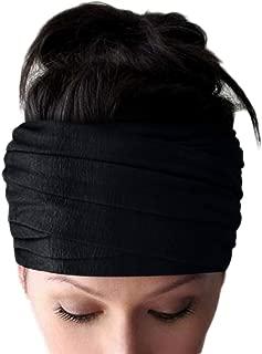 Women's Head Wrap Self Tie 6 Wide Headscarf Half Hair Wrap (Black)
