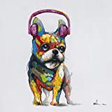 Floopy's Wall Décor French Bulldog Headphones Dog Canvas Wall Art Ready to Hang Painting 28