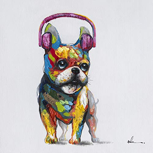Floopy's Wall Décor French Bulldog Headphones Dog Canvas Wall Art Ready to Hang Painting 28' x 28' Beautiful Colors Cute Adorable Art Piece Great Gift for Dog Lovers Fits Any Room Bathroom Nursery