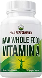 Raw Whole Food Vitamin A Capsules Supplement by Peak Performance. High Potency Vitamins with Organic Carrot Juice. Great f...