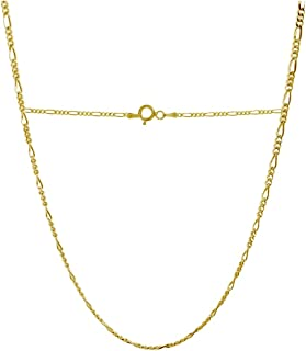 18 Karat Solid Yellow Gold 2.0mm Figaro Link Chain Necklace - 3+1 Link - Made In Italy- Available in 16