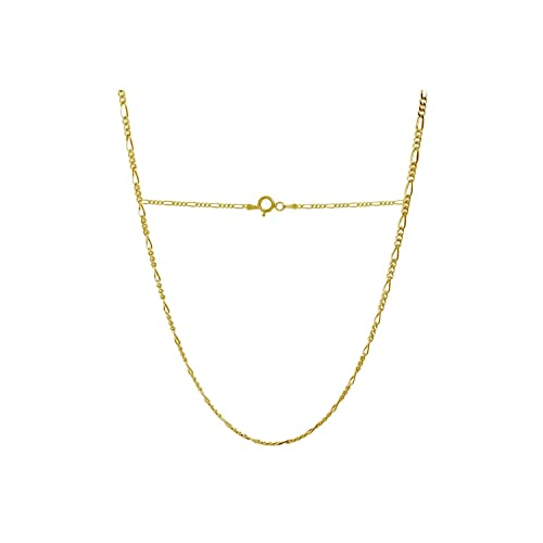 761b434dd313 18 Karat Solid Yellow Gold 2.0mm Figaro Link Chain Necklace - 3+1 Link