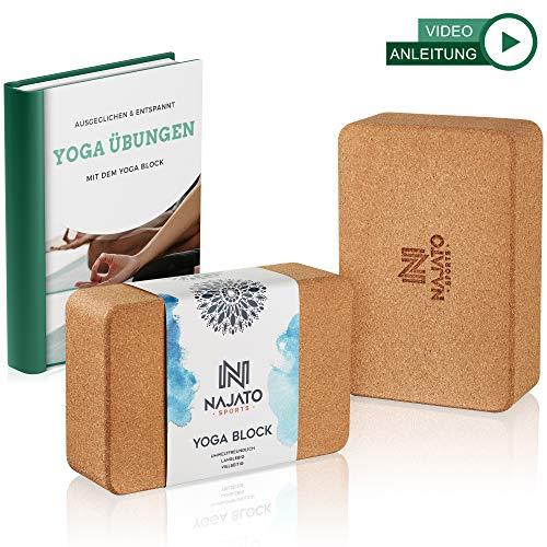 NAJATO Sports Yoga Block Kork 2er Set – Wählbar mit und ohne Yogagurt aus 100% Baumwolle – Umweltfreundlicher Yogaklotz – Mit Übungsanleitungen als Ebook
