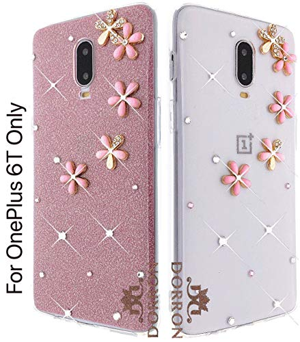 DORRON Glitter Bling Girls Soft TPU Mobile Phone Back Case Cover for OnePlus 6T / 1+6T (Rose Gold_3D Flowers)
