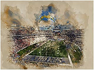 ATLAS San Diego Chargers Poster Watercolor Art Print 12x16 Wall Decor
