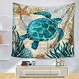 Morbuy Ozeanhai Wandteppich Tapisserie Seepferdchen Design Motiv Wandbehang aus Polyster Wandtuch Tischdecke Meditation Strandtuch Yogamatte (Klein (130 x 150cm), Schildkröte)
