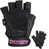 Contraband Pink Label 5127 Womens Vegan Weight Lifting Gloves w/Synthetic Microfiber Amara Leather (Pair) - Machine Washable Fingerless Workout Gloves Designed for Women (Black, X-Small)