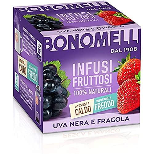 Bonomelli, Infusi Fruttosi, Uva Nera e Fragola, Ingredienti 100% Naturali, Gusto Intenso e Delicato, Infusione a Caldo e a Freddo, Confezione da 12 Filtri