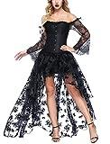 FeelinGirl Damen Korsagekleid Steampunk Gothic Kostüm Magic Mistress Hexenkostüm Teufelchen...