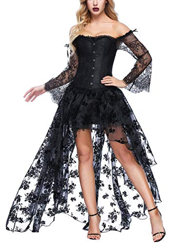 FeelinGirl Damen Korsagekleid Steampunk Gothic Kostüm Magic Mistress Hexenkostüm Teufelchen Halloween Cosplay Priatbraut, M(EU 34-36), Schwarz