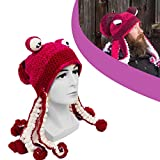 ujnh Octopus Hat, Hand Knitted Octopus Tentacle Hat, Unisex Octopus Tentacle Hat, Hand Knitted, Adult Party Costume (Red and White)