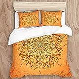 Set Biancheria da Letto,Mandala Ornamento Rotondo Marrone su Sfondo Arancione,Copripiumino Matrimoniale 240 X 260 cm e 2 Federe 50 x 80 cm,Microfibra