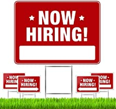 """Now Hiring Signs (5 Pack) – Premium LARGE 24"""" x 18"""" Now Hiring Signs for Business and Stores with Stakes – Pro Double-Sided Help Wanted Signs with Directional Arrows & Heavy Duty Yard Sign Stakes"""