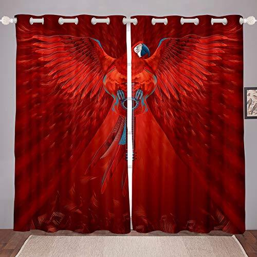 Cortinas de Guitarra Angel Lucifer con alas Rojas,para niños, niñas, Personajes en mitología, Ventanas,de creencias religiosas, W46 x L54