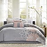 Madison Park Lola All Season Down Alternative Bedding, Shams, Bedskirt, Decorative Pillows, Queen(90'x90'), Grey/Blush, 7 Piece