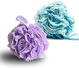 Dos paquetes de esponja exfoliante para pelotas de baño, morado y azul