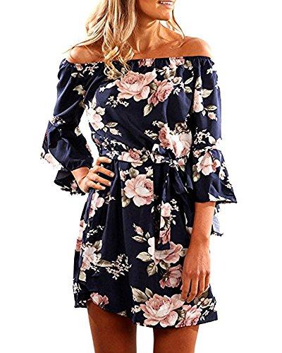 SVALIY Women Off Shoulder Ruffles Floral Tunic Casual Party Shift Short Dress...