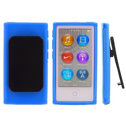 ANiceSeller Color TPU Rubber Skin Case Cover with Belt Clip for iPod Nano 7th Gen 7 7G (TM) (Blue)
