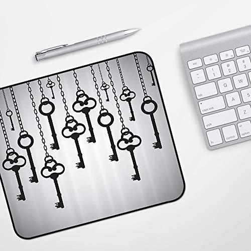 Gaming Mousepad Mauspad,Antikes Set, Silhouetten alter Schlüssel, hängende Kettenglieder, die den sicheren Hausöffner entsperren,Komfort Mousepad - verbessert Präzision und Geschwindigkeit