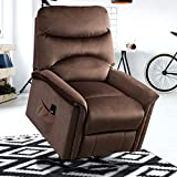 GOOD & GRACIOUS Lift Chair Electric Power Recliner with Remote Control for Elderly Heavy Duty and Soft Fabric Sofa for Living Room 3 Position Dark Brown