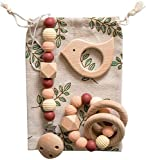Baby Teether Gift Set of Organic Wood Silicone Beads Teething Toy & Bird Shaped Pendant Pacifier Clip Sensory Activity Teether Rattle Squeaker Chewable Threaded Beads Montessori Toys