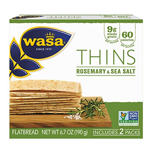 WASA THINS Rosemary and Sea Salt Flatbread Crackers, 6.7 Ounce, Non-GMO Project Verified Rosemary Crackers, No Saturated Fat (1.5g of total fat), 0g of Trans Fat, No Cholesterol