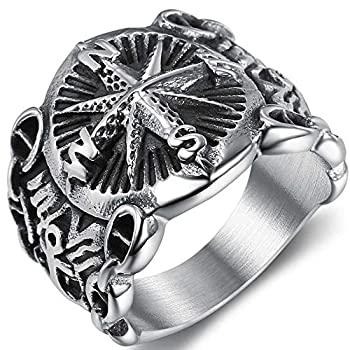 Retro Vintage Stainless Steel Compass Pirates Sailor Biker Cocktail Party Ring  Silver 15