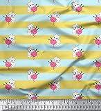 Soimoi Gelb Seide Stoff Kätzchen & Wolle Streifen Stoff