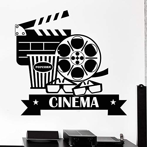 Tianpengyuanshuai Kino Wandtattoo Kino Popcorn Fotografie Dekoration Vinyl Aufkleber Brille Kunst Kreativ 68X72cm