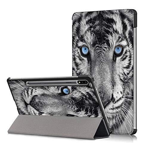 Yoedge Funda para Samsung Galaxy Tab S7 Plus, Cárcasa Cuero PU Magnetica Función de Soporte y Auto Sueño/Estela Smart Cover Piel con Dibujos Diseño Compatible con Samsung Tab S7 Plus, Tigre