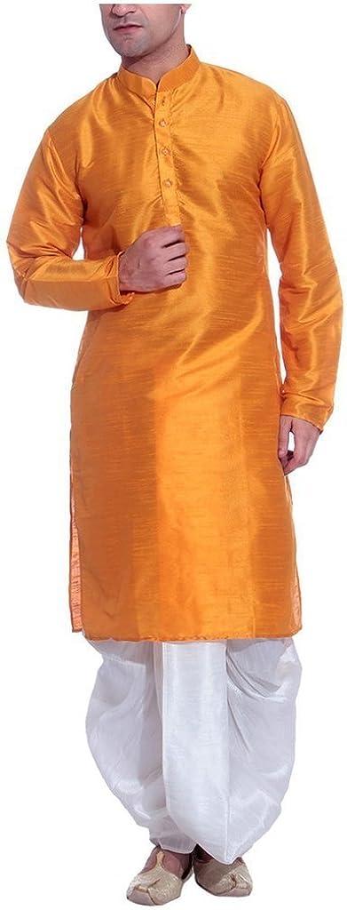Royal Men's Silk Blend Dhoti & Kurta Set_Orange