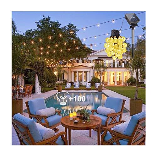 Solar Lichterkette Außen 12M - 100 LED Kristall Kugeln Beleuchtung IP44 Wasserdicht Warmweiß Außerlichterkette Deko für Balkon, Hochzeiten,Terrasse,Halloween & Weihnachen [Energieklasse A+++]