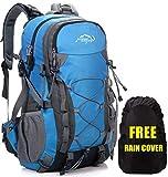 Meisohua Mochila impermeable de 40 L, ligera, para adultos, senderismo, hombre, mujer, exteriores, para escalada, camping, equitación, viajes, ocio, para portátil de 15,6 pulgadas, azul