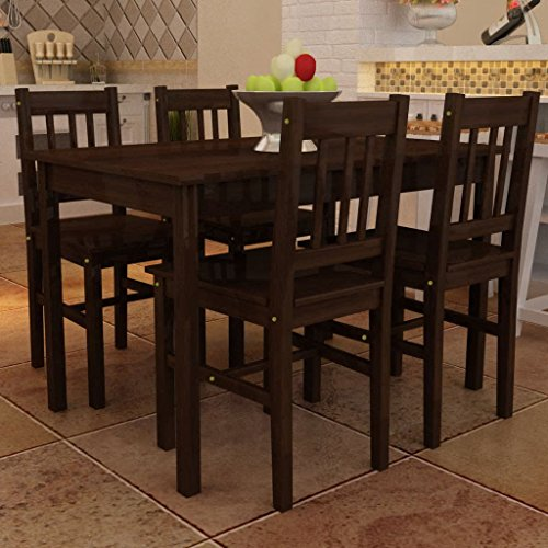 WEILANDEAL eettafel met 4 stoelen van hout, kleur bruin, set van tafel en stoelen van hout, afmetingen van de poten: 4 x 4 x 71,3 cm