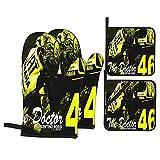 Large Puzzle Valentino Rossi - Guantes de horno (4 unidades), color negro