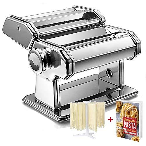 ImnBest Macchina Manuale per Pasta, cestello per asciugatrice Regalo, Macchina per Pasta in Acciaio Inossidabile, Macchina per Pasta Manuale con 2 Diversi rulli per Pasta