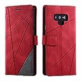 Bear Village Cover Galaxy Note 9, Flip Custodia con Porta Carte e Funzione Staffa, Antiurto Custodia Portafoglio in PU Pelle per Samsung Galaxy Note 9, Rosso