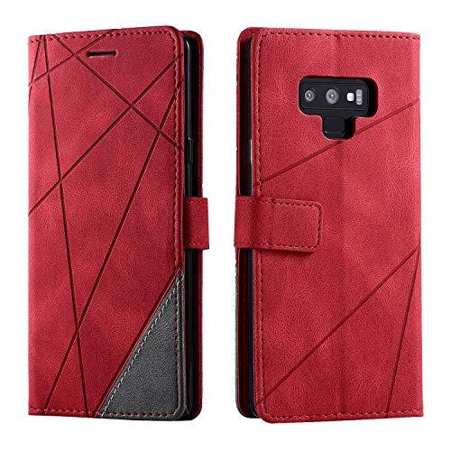 Hülle für Samsung Galaxy Note 9, SONWO Premium Leder PU Handyhülle Flip Hülle Wallet Silikon Bumper Schutzhülle Klapphülle für Galaxy Note 9, Rot