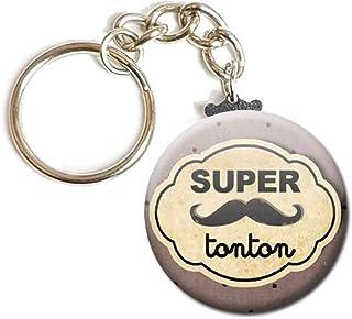 Porte Clés Chaînette 3,8 centimètres Super Tonton Idée Cadeau Accessoire Tonton mon Oncle
