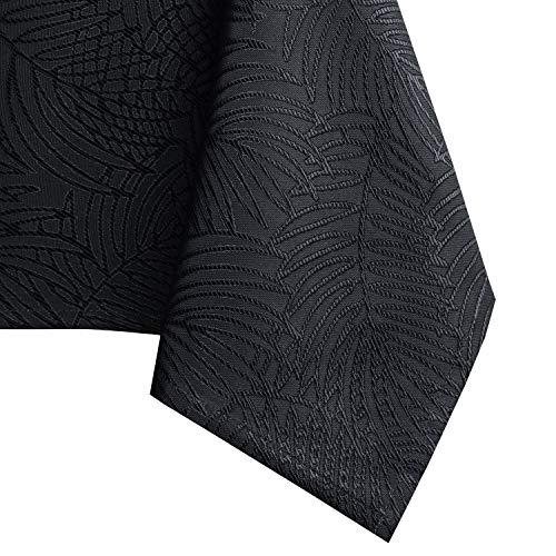 AmeliaHome - Mantel con efecto loto, resistente al agua, poliéster, Color negro., 130 x 130 cm