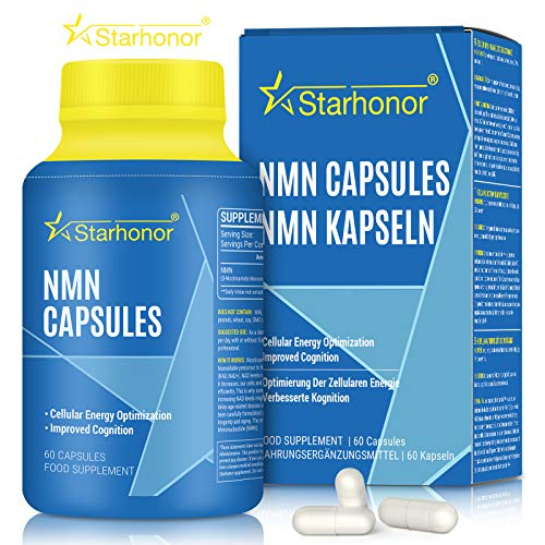 Starhonor NMN Supplements 500mg Capsule, Pure Nicotinamide Mononucleotide, NAD+ Booster & Anti-Aging & Antioxidant, Energy Metabolism, Vegan Friendly (1)