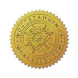 CRASPIRE - 100 Unidad de Sellos de Certificado de Lmina de Oro En Relieve, Autoadhesivo, Medalla, Decoracin, Certificacin, Graduacin, Sellos Corporativos (Excelencia EXCEPCIONAL)