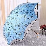 YZMBYUSAN Regenschirm Flower Umbrellas Parasol Doppelfaltbarer Stickerei-Taschenschirm -
