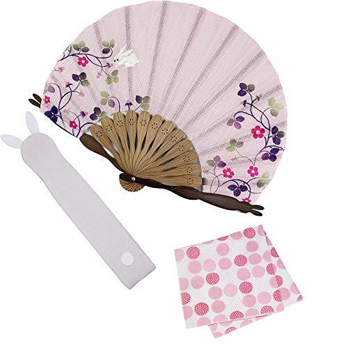 大阪 長生堂 扇子 レディース 女性用 高級 ビジネス 扇子入れ ハンカチ付セット 和装小物 苺うさぎ ピンク